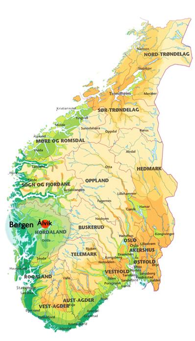 Vestlandet kaart